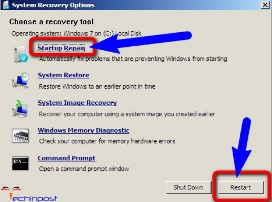 Run a Startup Repair on your Windows PC