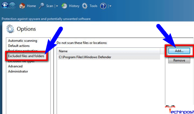 Adding Antimalware Service Executable to Windows Defender Exclusion List