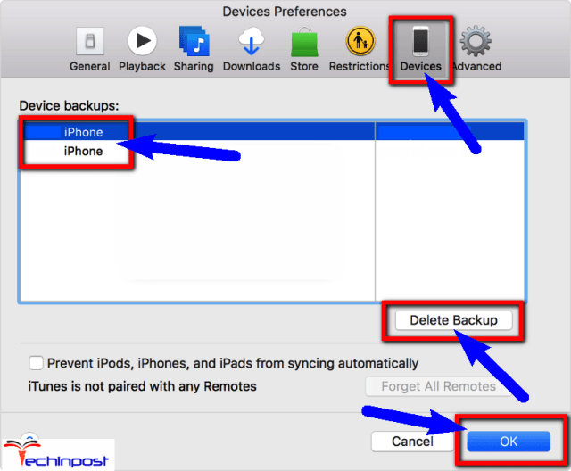 Delete the iTunes Backup Files Sync Session Failed to Start
