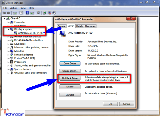 Roll back Default Display Driver from your Windows PC