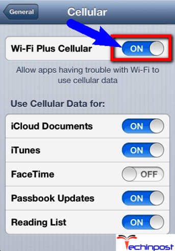 Turn OFF the WiFi Connection (WiFi Plus Cellular)