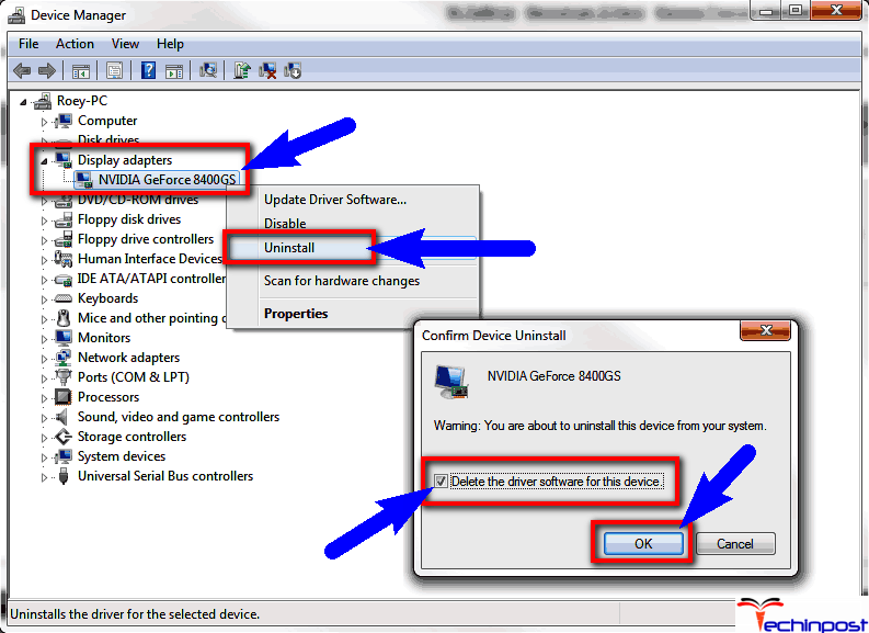 Uninstall & Delete the Driver Software Graphic Card & AMD Drivers