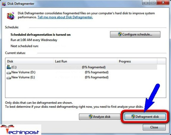 Run the Disk Defragmentation on your Windows PC