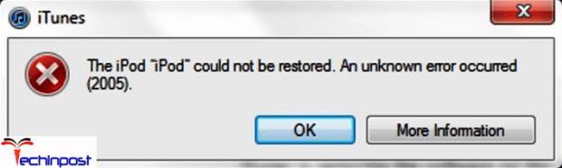 iTunes Error 2005