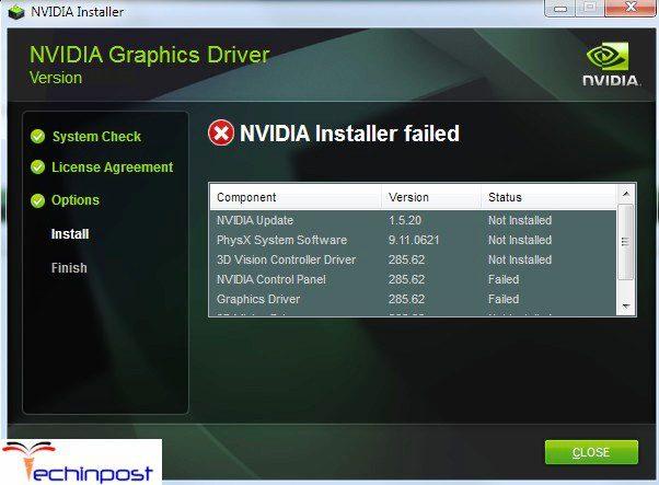 NVIDIA Installer Failed NVIDIA Installer Cannot Continue