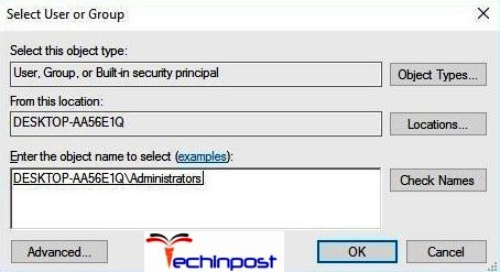 Click OK in Select User or Group