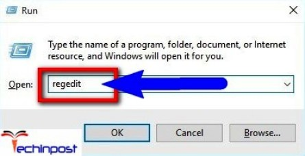 Open Run dialog. Then type Regedit and click OK