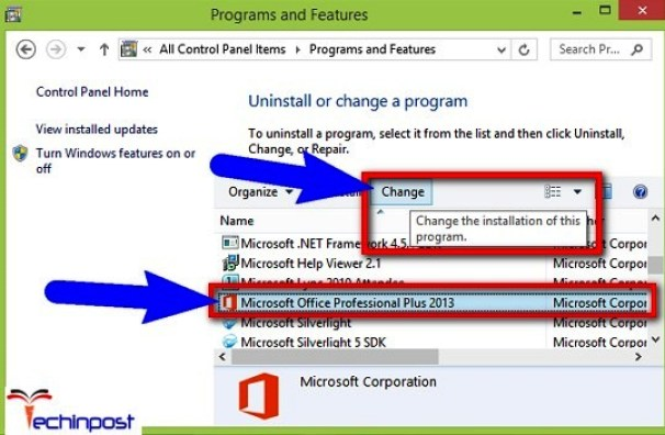 Uninstall or change a program of Programs and Features window, highlight your entry of Office installation and click on Change