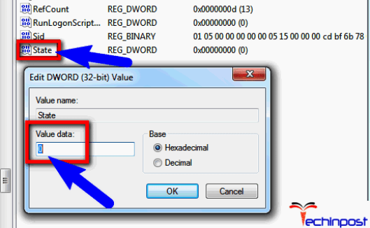 Click on the folder without the.bak extension, in the detailed pane and double-clickon the State Type0 in Value data and clickOK
