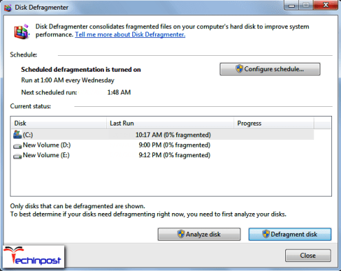 Defragging the Hard Drive