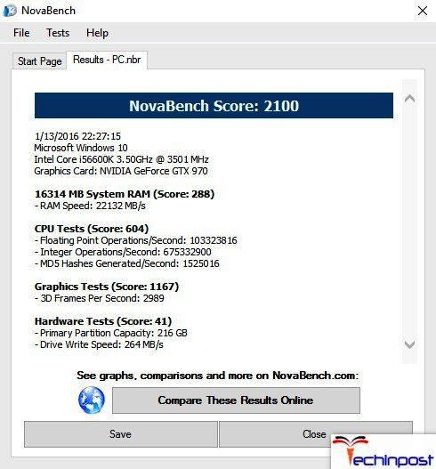 Novabench Free Benchmark Test