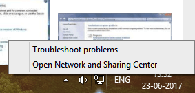 For Windows7, open Network troubleshooter by right-clicking on the network icon from the notification bar and then select the Troubleshoot problems option