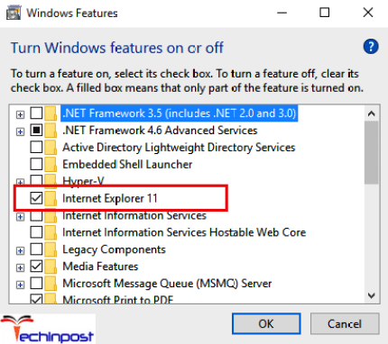 Now locate Turn Windows features on or off from the right side of the screen and Click on it