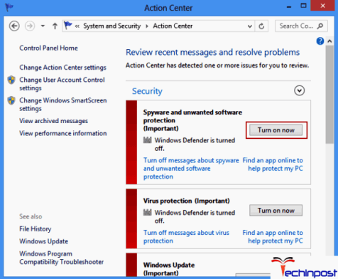 Enable Windows Defender in the Action Center