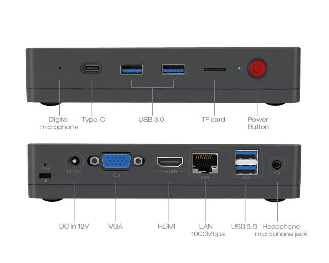 Alfawise T1 mini PC Ports