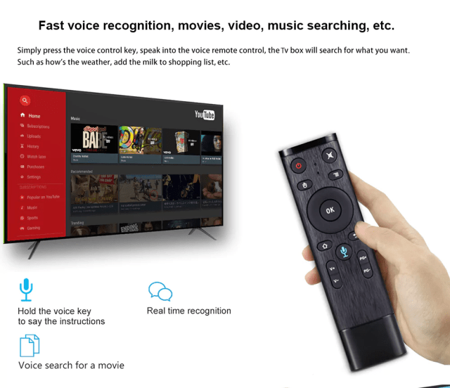 Scishion AI One Android 8.1 TV Box Controlling
