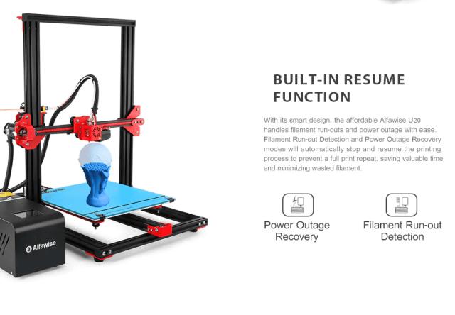 Alfawise U 20 Large Scale DIY 3D Printer Resume Option