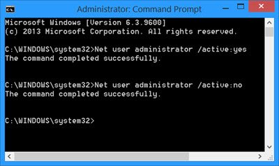 Built-in Administrator Account on CMD