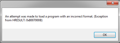 An Attempt Was Made to Load a Program with an Incorrect Format
