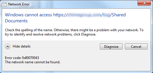 The Network Name Cannot be Found
