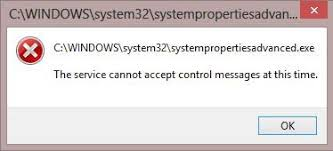 The Service Cannot Accept Control Messages At This Time
