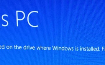 additional free space is needed on the drive where windows is installed