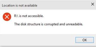 The disk structure is corrupted and unreadable error