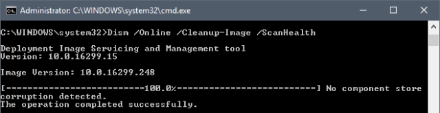DISM.exe /Online /Cleanup-image /Scanhealth