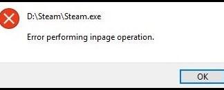 error message inpage operation
