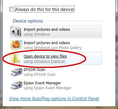 Open device to view files.