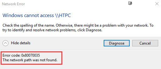 The Network Path was Not Found