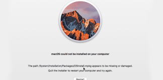 macOS Could Not Be Installed On Your Computer Issue