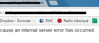 the page cannot be displayed because an internal server error has occurred