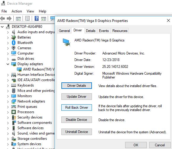 Windows 10 Black Screen after Login rollback-display-drivers-in-windows-10