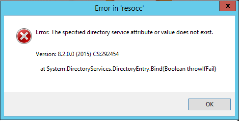 The Specified Directory Service Attribute or Value Does Not Exist