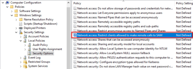 Network Access: Restrict clients Allowed to make remote calls to SAM Configuration Information Could Not Be Read From The Domain Controller