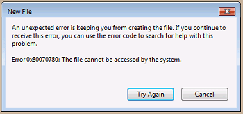 The File Cannot Be Accessed By The System Error