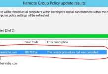The Remote Procedure Call Was Cancelled Error