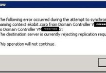 The Destination Server is Currently Rejecting Replication Requests Error