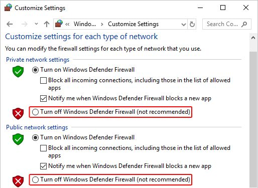 Turn off Windows Firewall (not recommended) An Established Connection was Aborted by the Software in Your Host Machine
