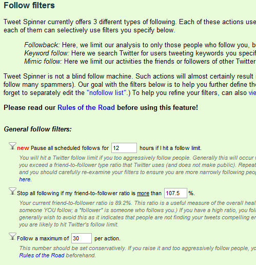 Tweet Spinner: Follow Filters
