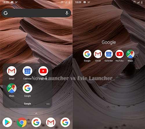 Nova Launcher vs Evie Launcher - Folders