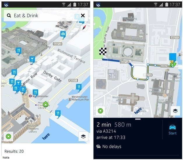 Nokia's Here maps work offline and will be able to send directions to a Samsung smartwatch.
