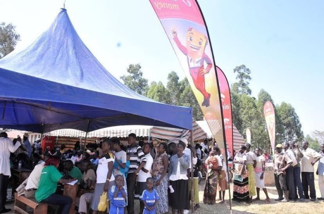 Residents line up to be registered during the Airtel community health fair in Arua