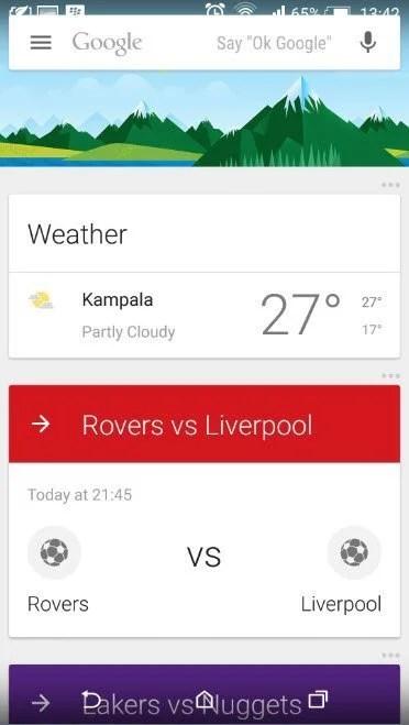 Google Now Screen