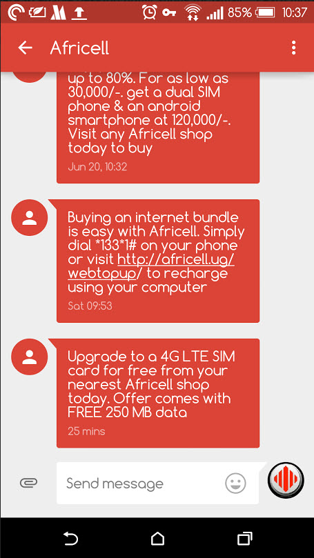 Africell SMS free data 4G SIM