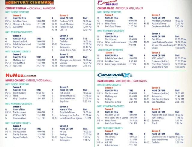 Uganda Film Festival Awards 2015 schedule