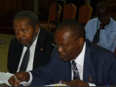 Dr Louis Kasekende (R)- Deputy Governor, Bank of Uganda and Mutebile T (L) Governor, Bank of Uganda