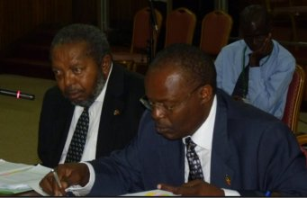 Dr Louis Kasekende (R)- Deputy Governor, Bank of Uganda and Mutebile T (L) Governor, Bank of Uganda