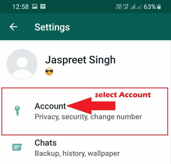 select account option in whatsapp